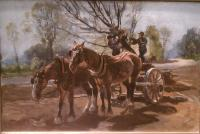 Two horses attached to a cart with two men pulling a tree into the cart.