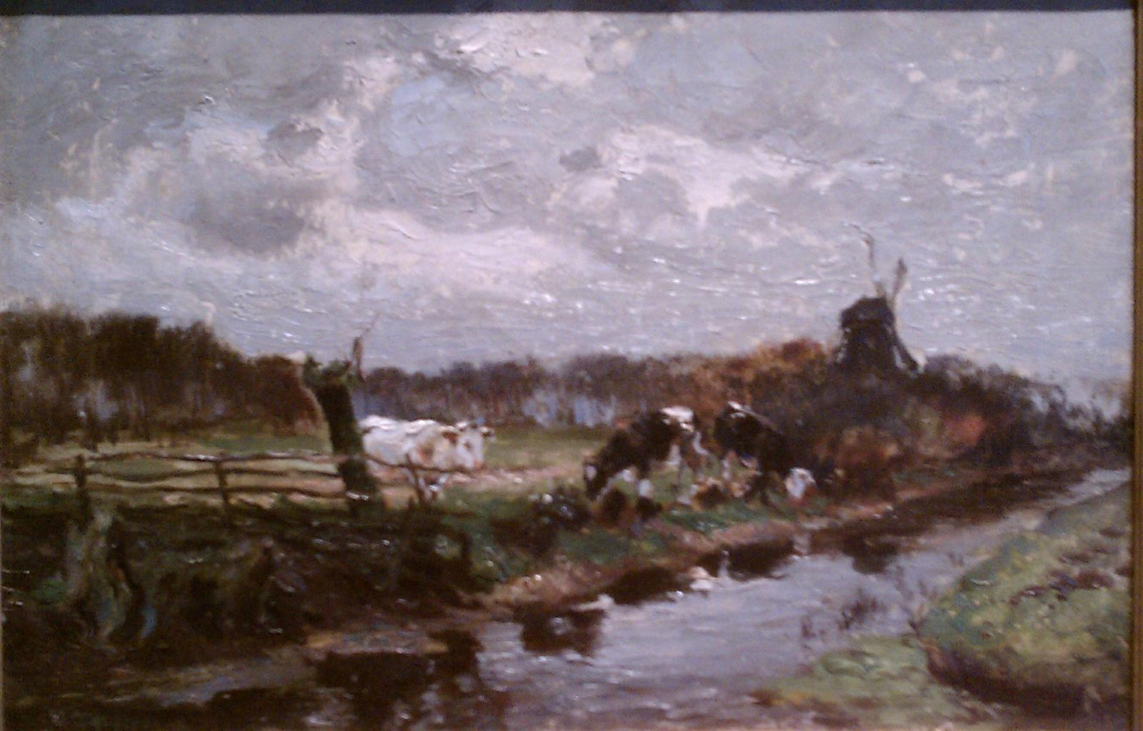 Cows along a stream with a partial fence.