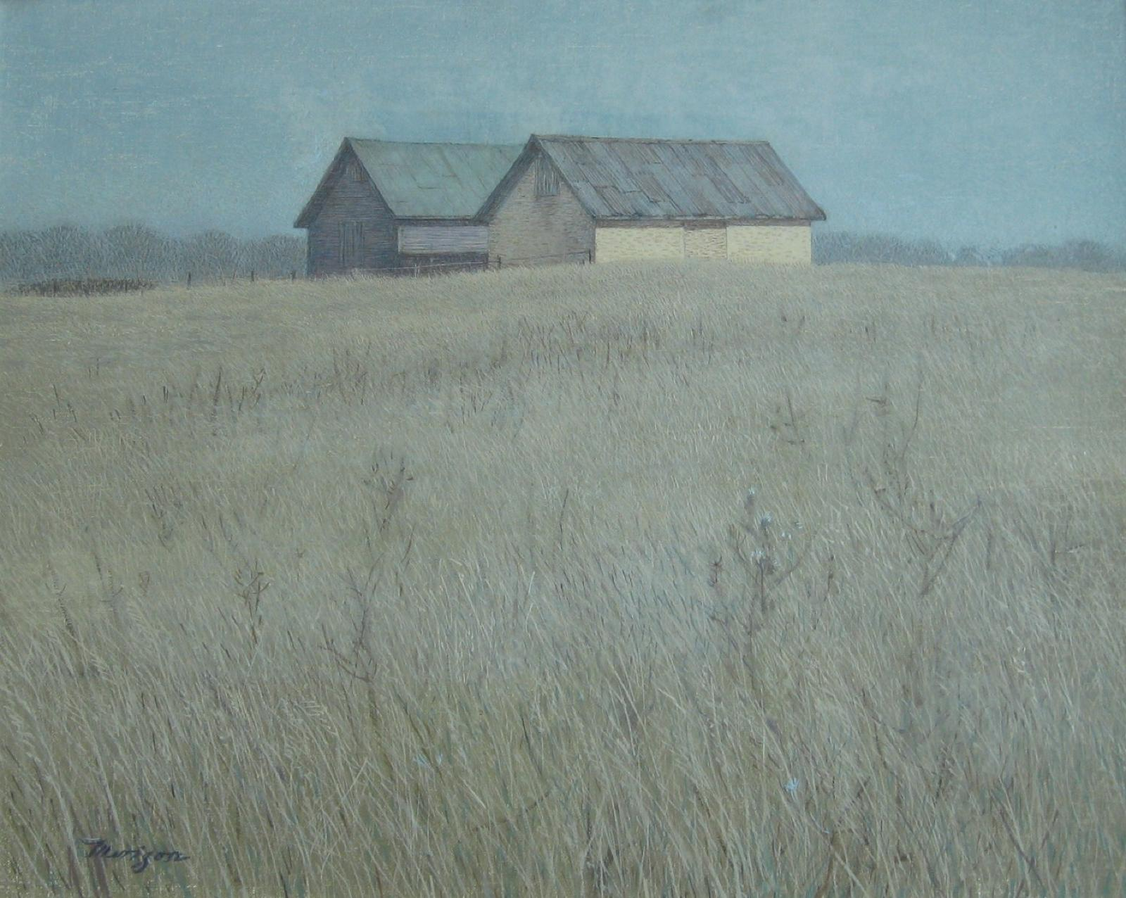 Acrylic painting of 2 barns in background, behind them is a blue sky, in front is a field.