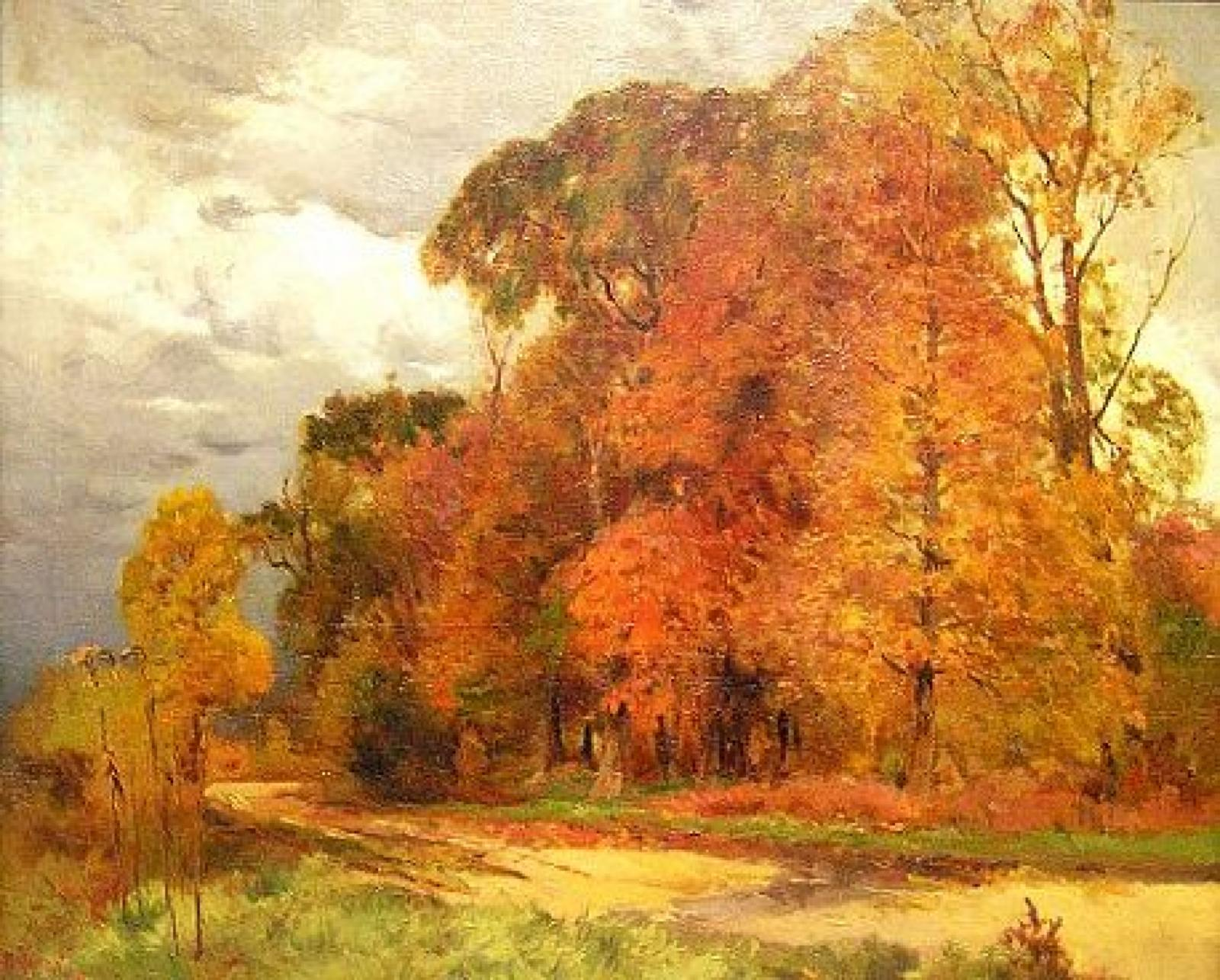 Overcast sky with tall trees with colored leaves in foreground.