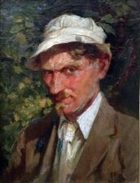 Self-portrait of a man wearing a brown jacket, tie, white shirt and white hat.