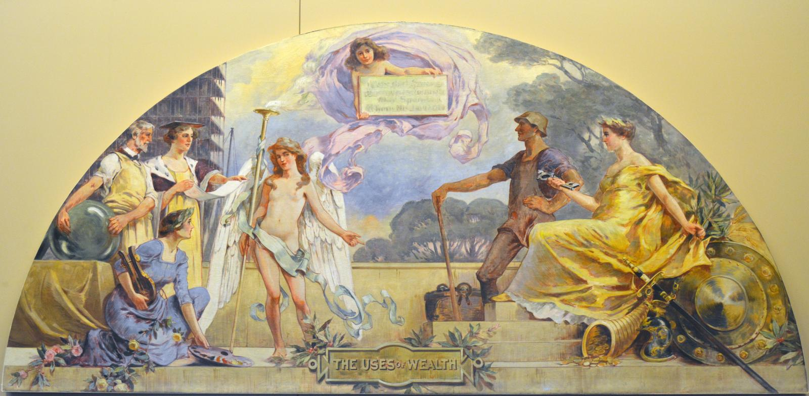 Lunette mural includes two men, four women, and an angel like child floating above the rest.