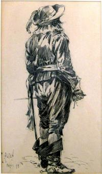 Sketch of a man in a 17th century cavalier costume.
