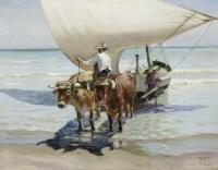 Man riding oxen.