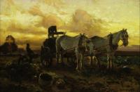 Two horses pulling a cart against the backdrop of a yellow, cloudy sky.