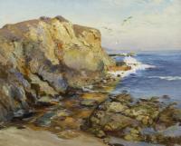 Sea scene of rocky waterfront.
