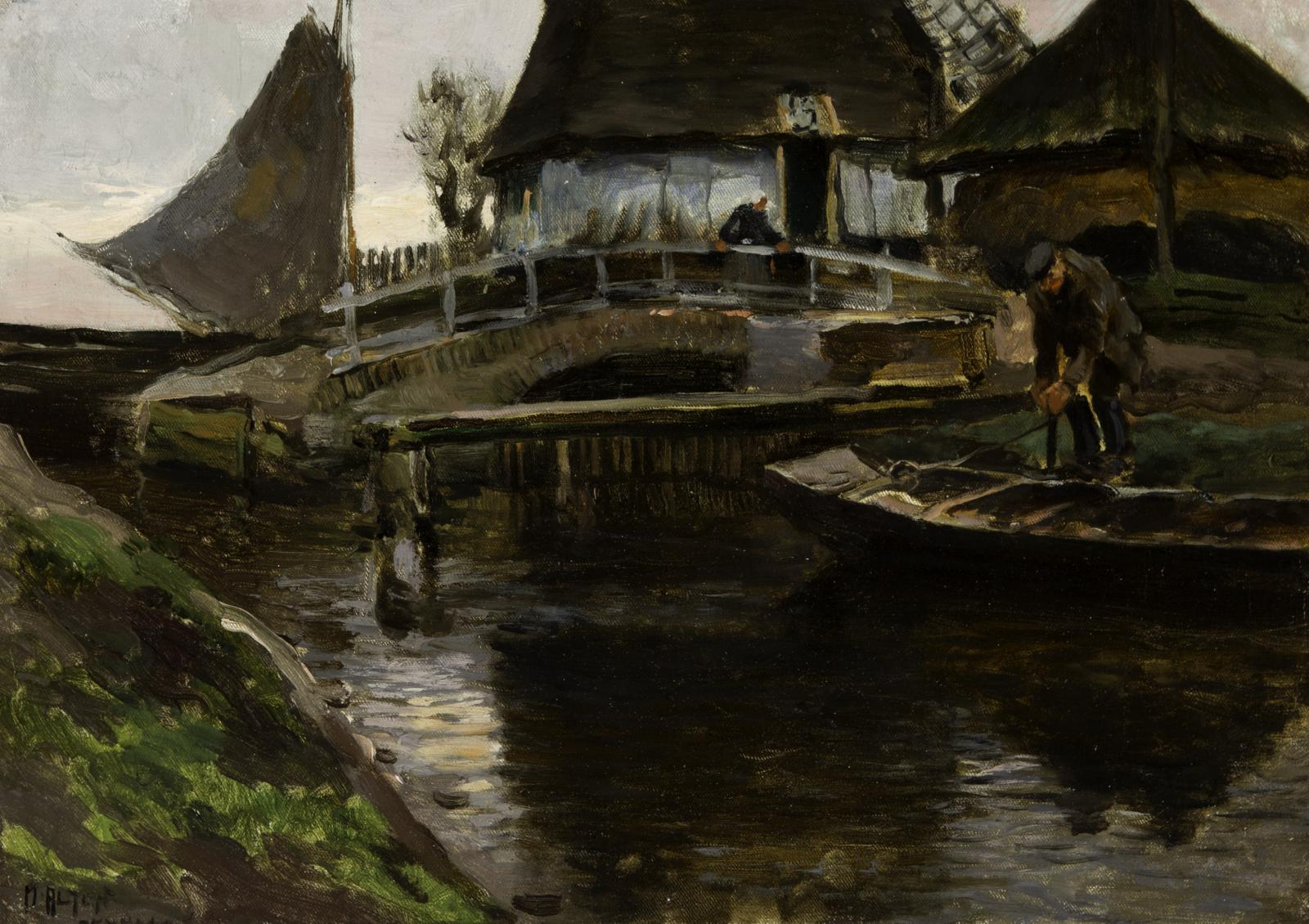 Man in small boat on the right side of the image, coming up to a white bridge with two buildings in the background.