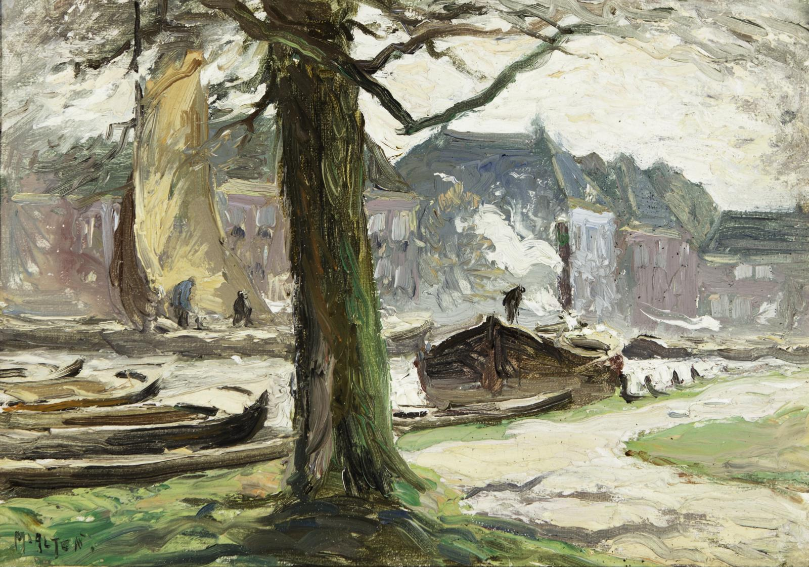 Boats docked along a shoreline with a large tree trunk at the center of the image.