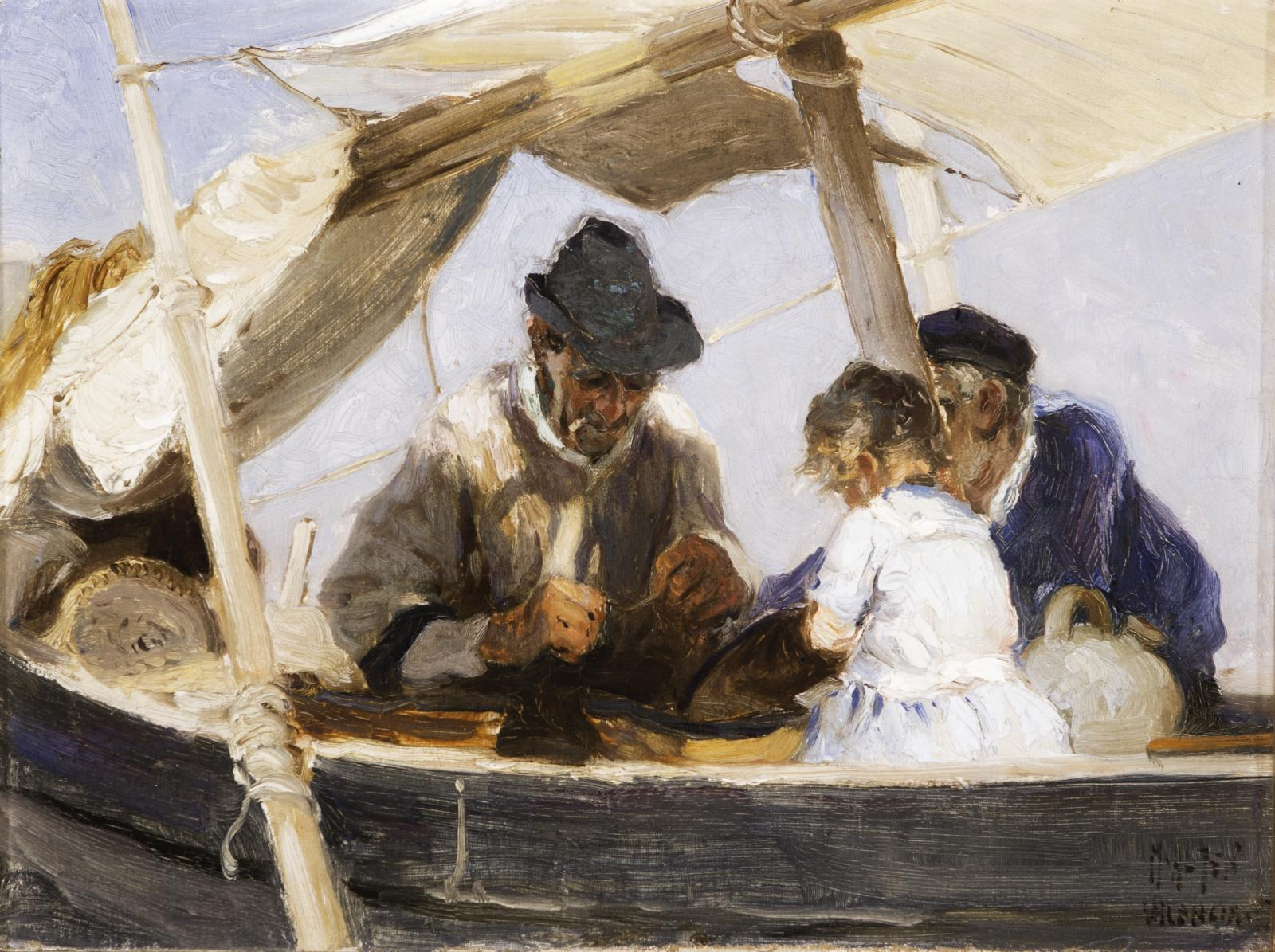 Two men and a young child wearing white in a boat.