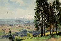 Landscape scene with six pine trees in the foreground, a village or farm community in the distance, and a white capped mountain further back.