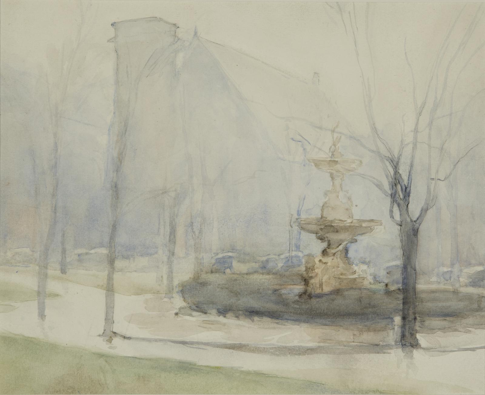 """Front watercolor image """"foggy"""" image of trees and a fountain which is on the right."""