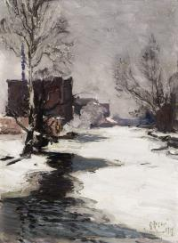Snowy vertical landscape with a frown river at center, snowy banks on either side.