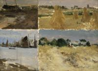 Four painted panels with two farm scenes and two marine scenes.
