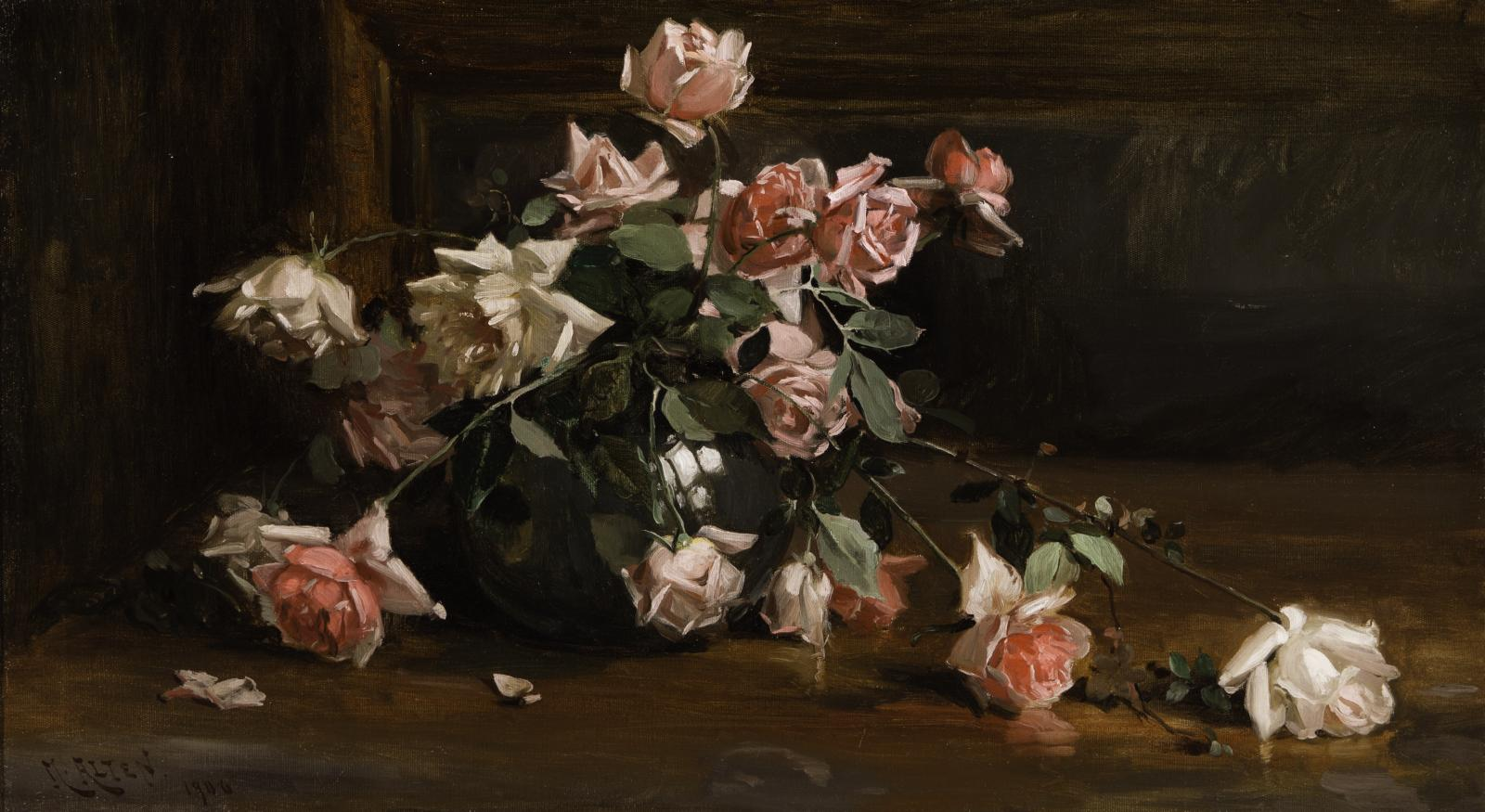 Dark background and table with white and pink roses.