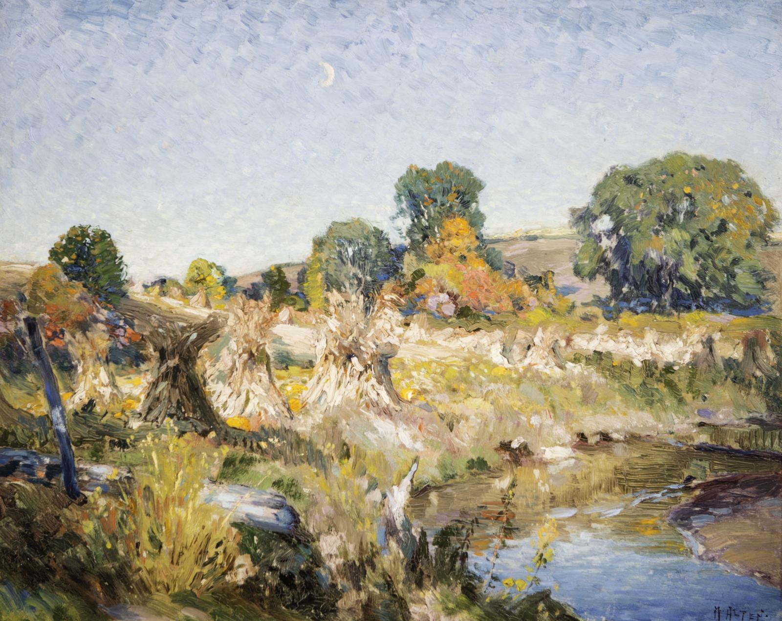 Landscape with a small stream bottom right, trees and corn shocks along the bank.