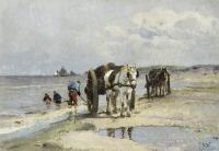 Two horses with large carts behind them.