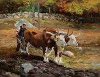 Man holding a plow behind two oxen.