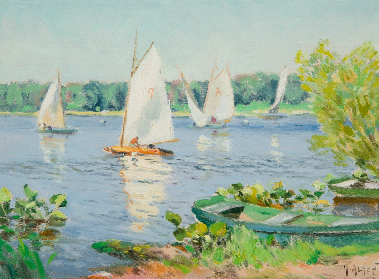 Four white sailboats in water, trees in the distance.
