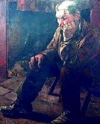 Older man, crouched, sitting on a very low stool.