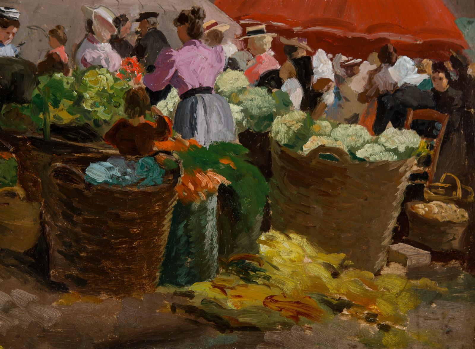 Large baskets full of fruit.