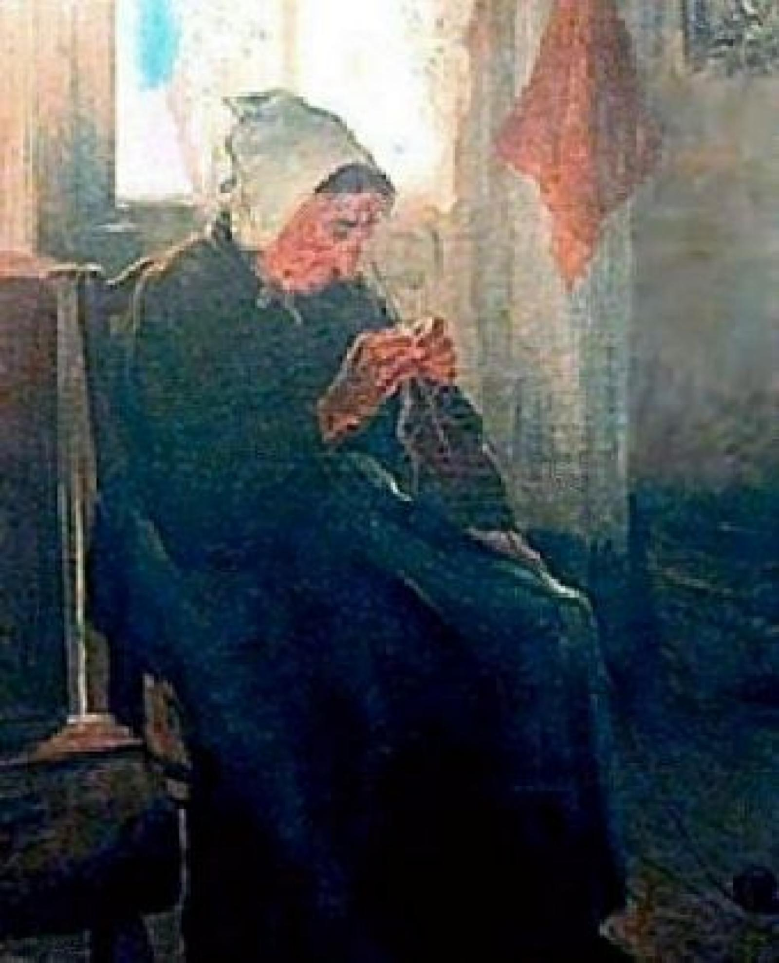 Image of an older woman wearing black with a white cap, sitting in a chair knitting.