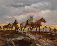 Silhouette of horses in a work field with a yellow sunset under a gray, overcast sky in the background.
