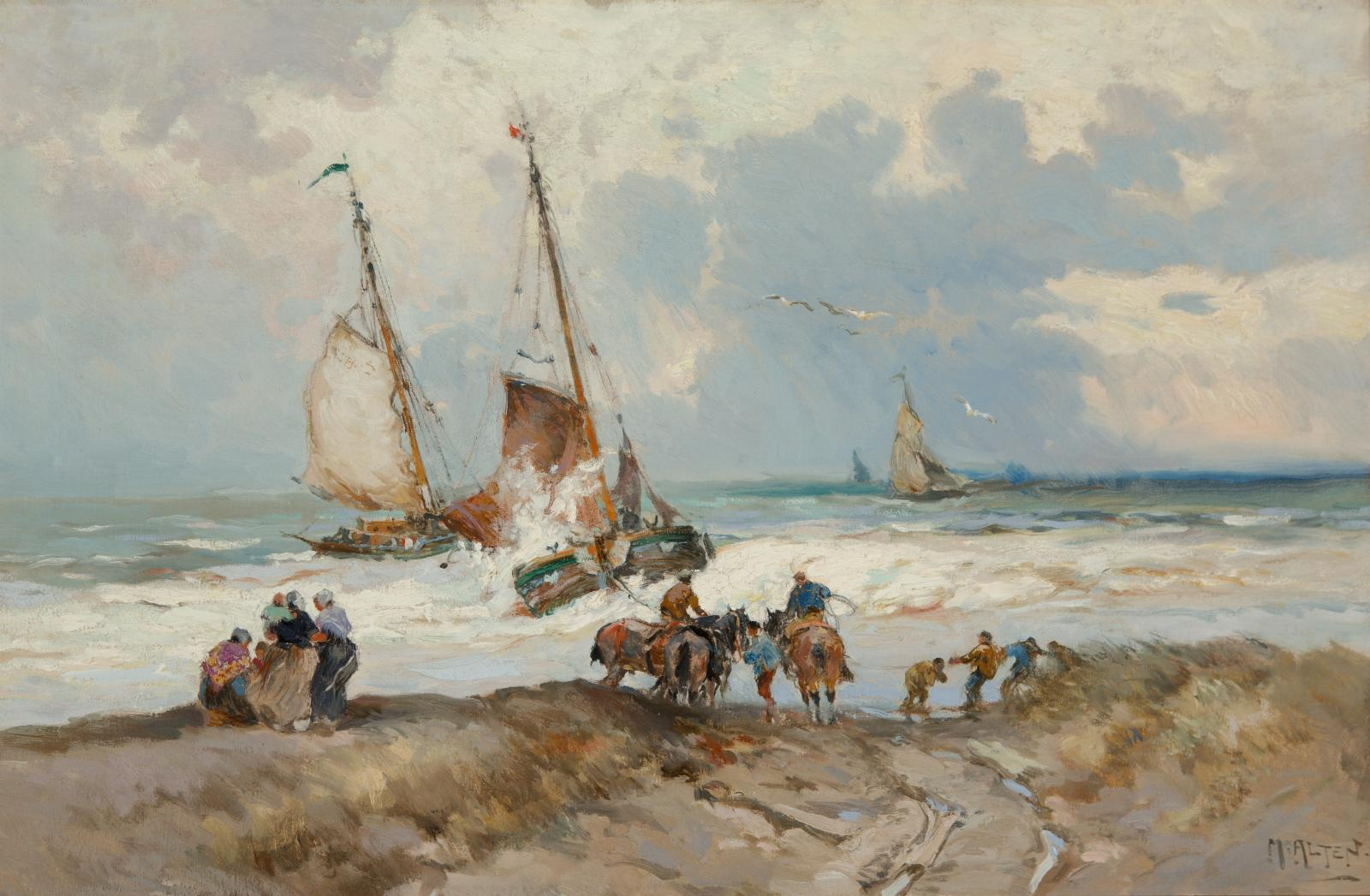 Sail boats in the water with multiple people and horses along the shoreline of the water on the beach.