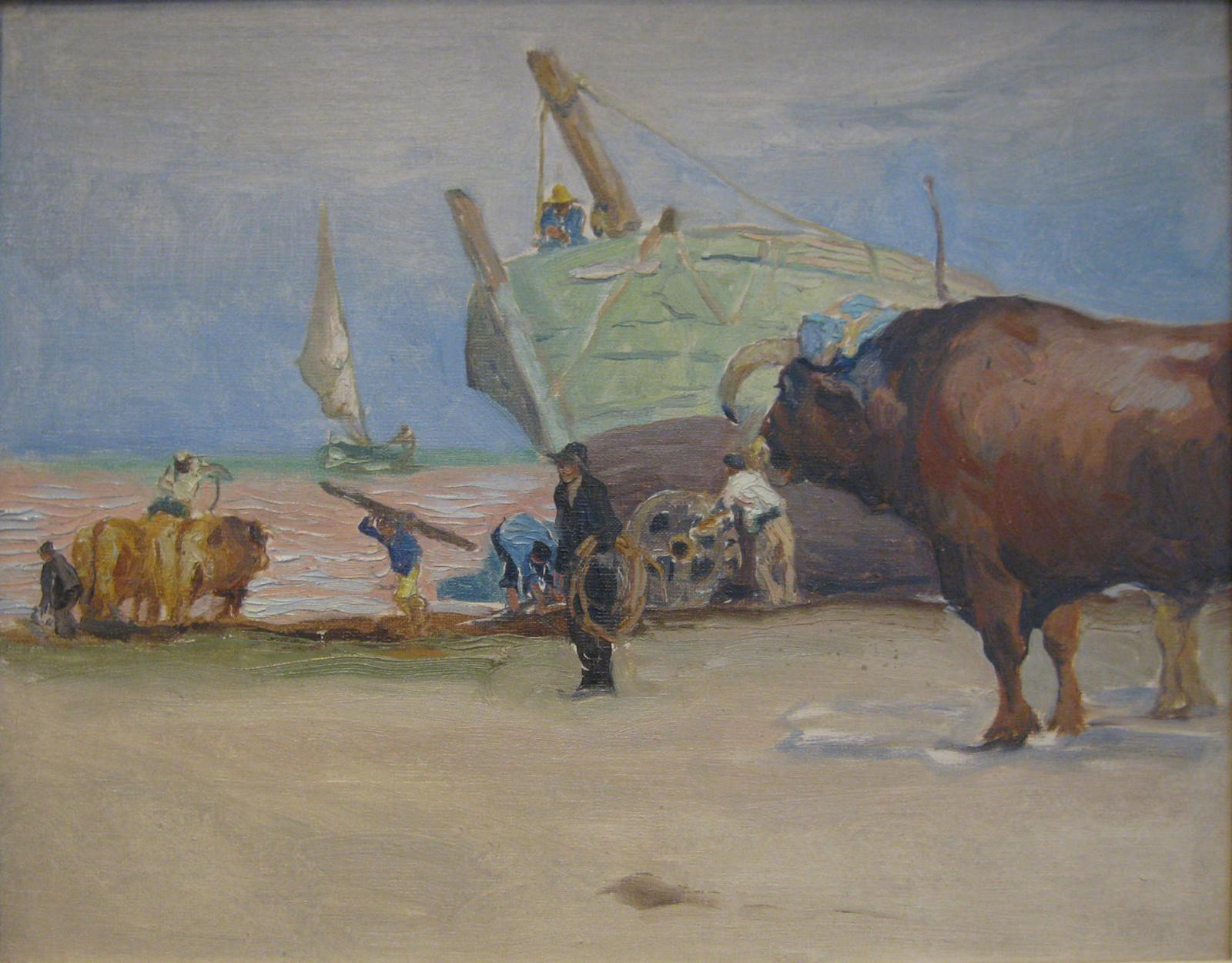 View of a boat on the beach surrounded by men and oxen, blue sky, and sail boat in the background.