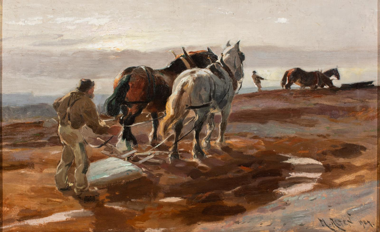 Agricultural scene featuring farmers and horses working in a field at dusk/dawn (pink sky).
