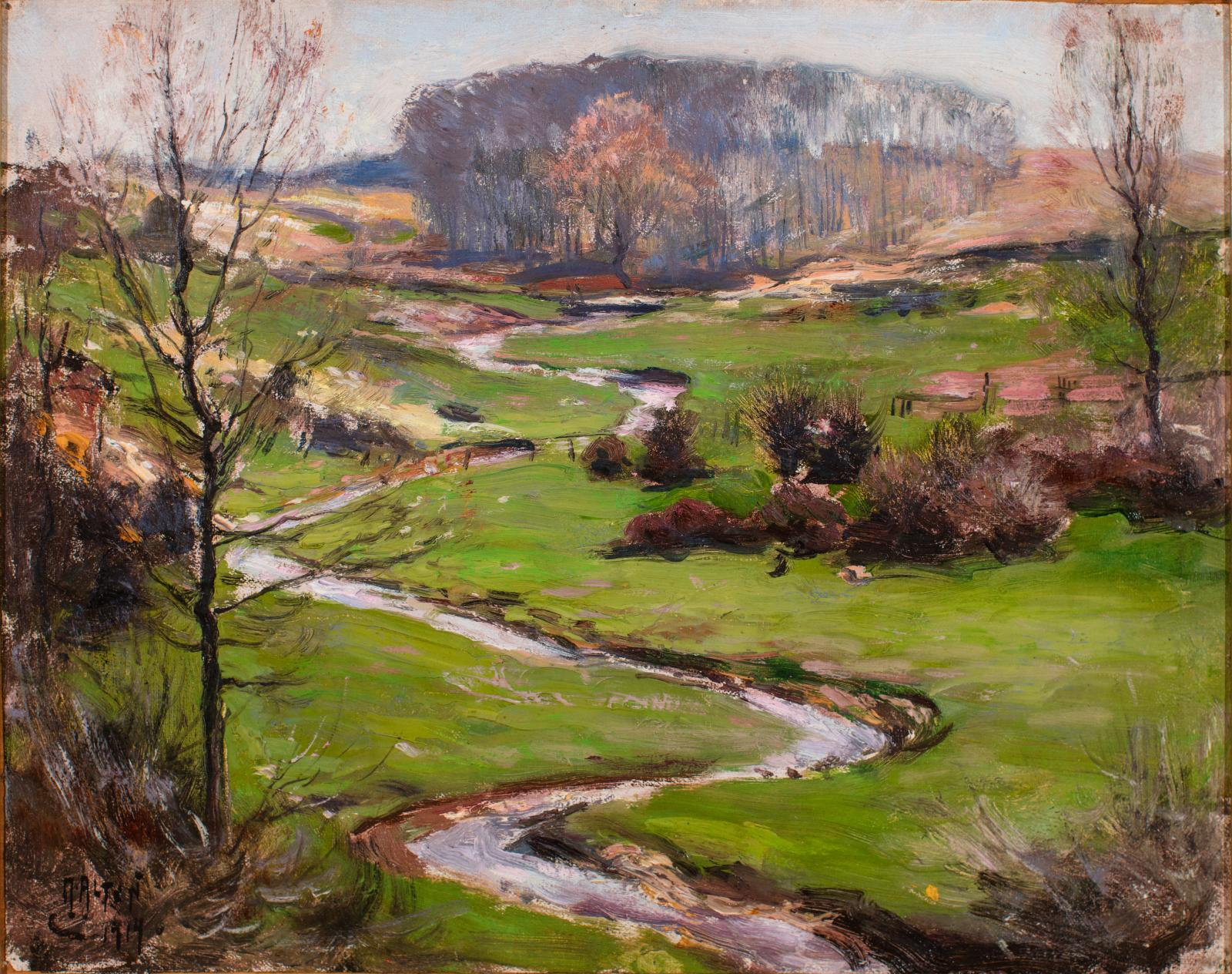 Landscape with green ground, bare trees, and meandering stream through the center of the image.