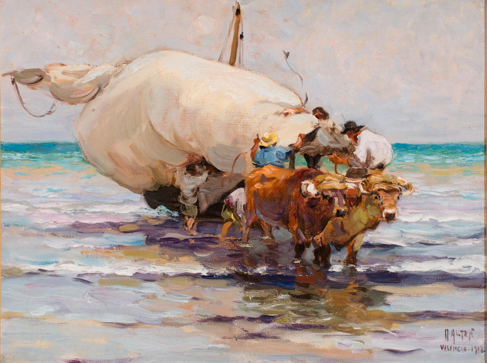 Two oxen pulling a boat onto a shoreline with people at the boat holding the sail.