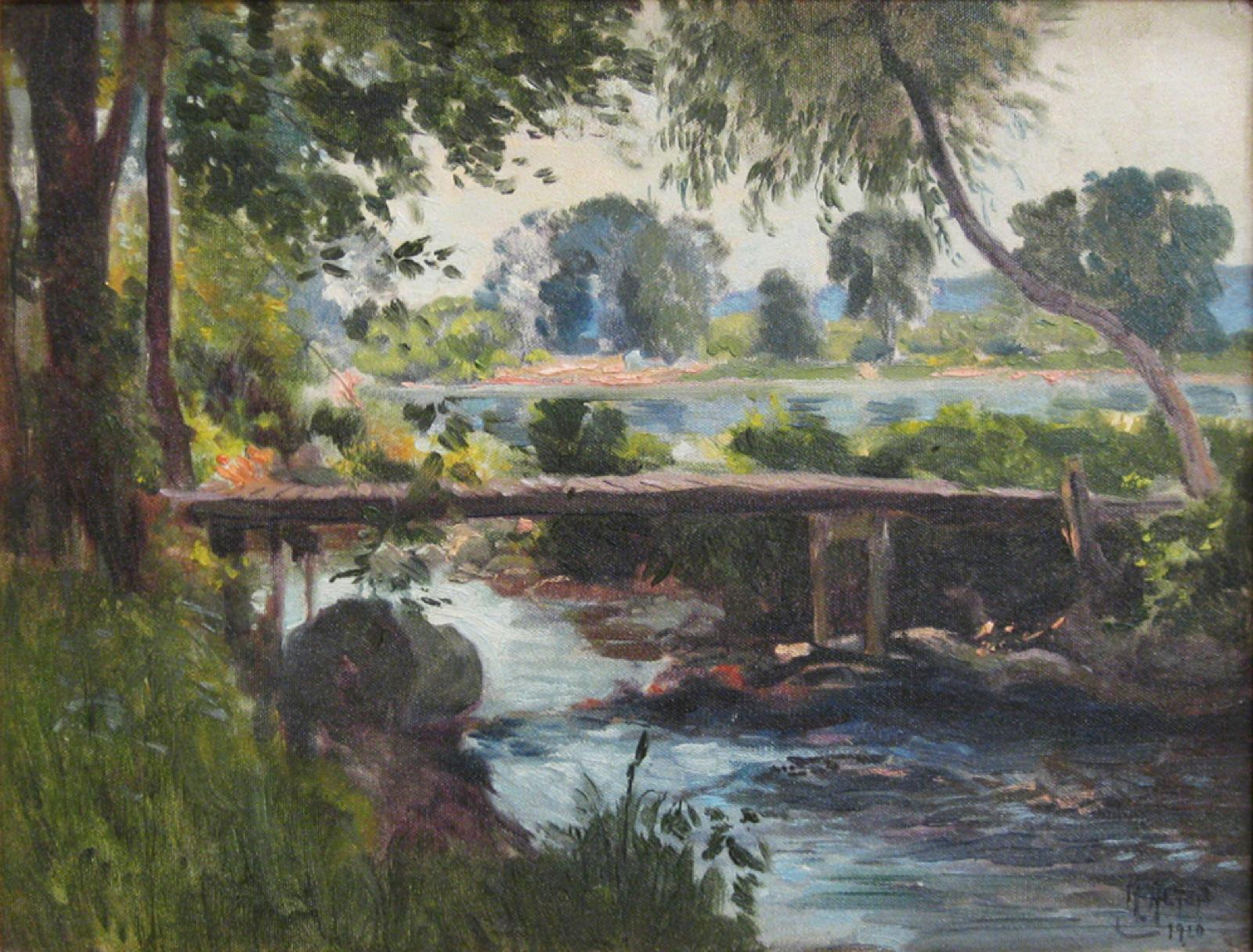 A landscape painting of a small wooden bridge over a creek.
