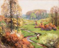 Two cows grazing in foreground of landscape image with green grass, pale sky, yellow leaves, and a meandering stream.