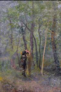 Cavalier (man in black with hat) with a woman in a yellow dress and pink hat under tall trees.