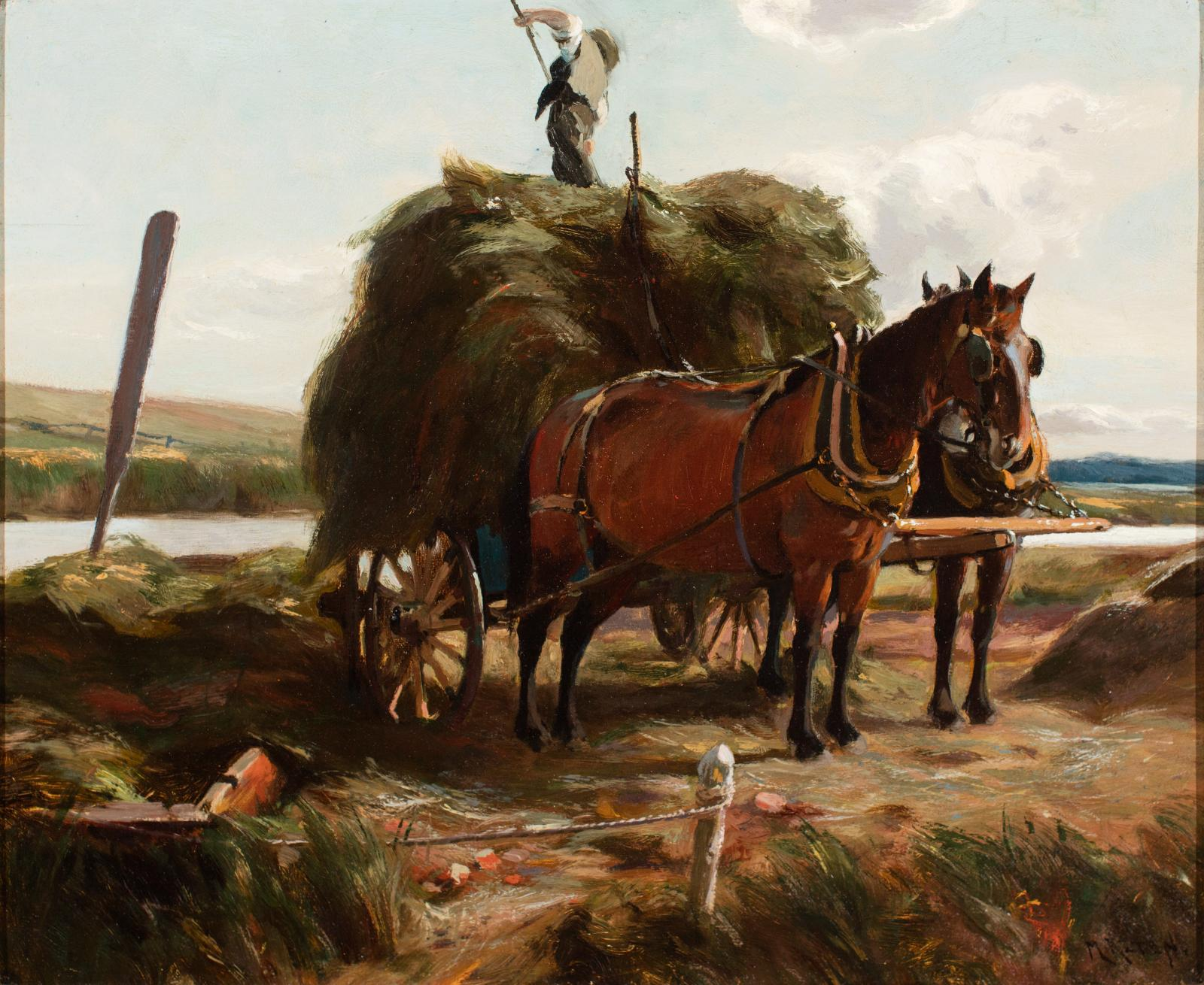 Man on top of a large pile of hay sitting in a horse-drawn cart.