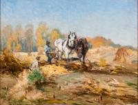 Two farms and two horses, one white and one brown, in a field.