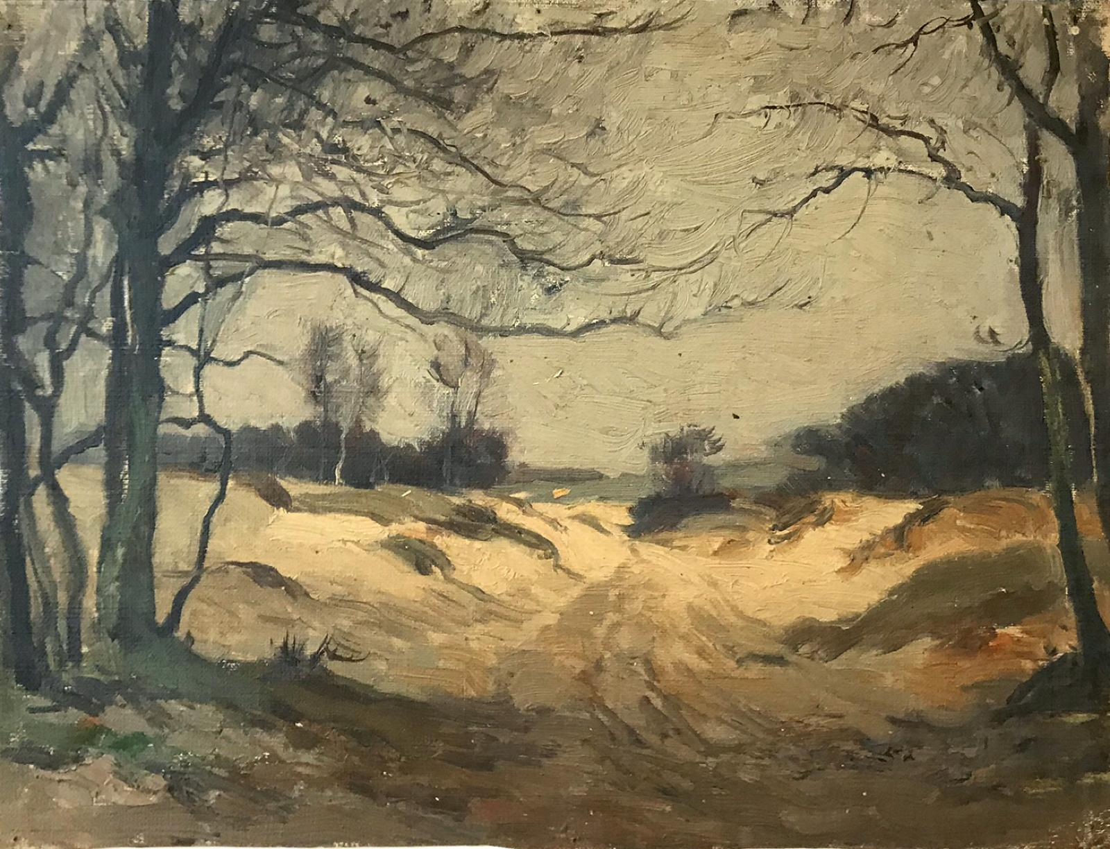 Oil on canvas image of a landscape with dark grey barren trees.