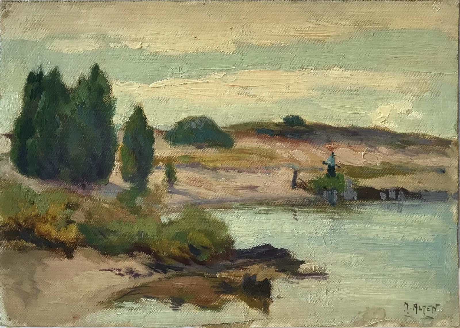 Oil on canvas image of a sandy shoreline with a few green shrubs and trees.