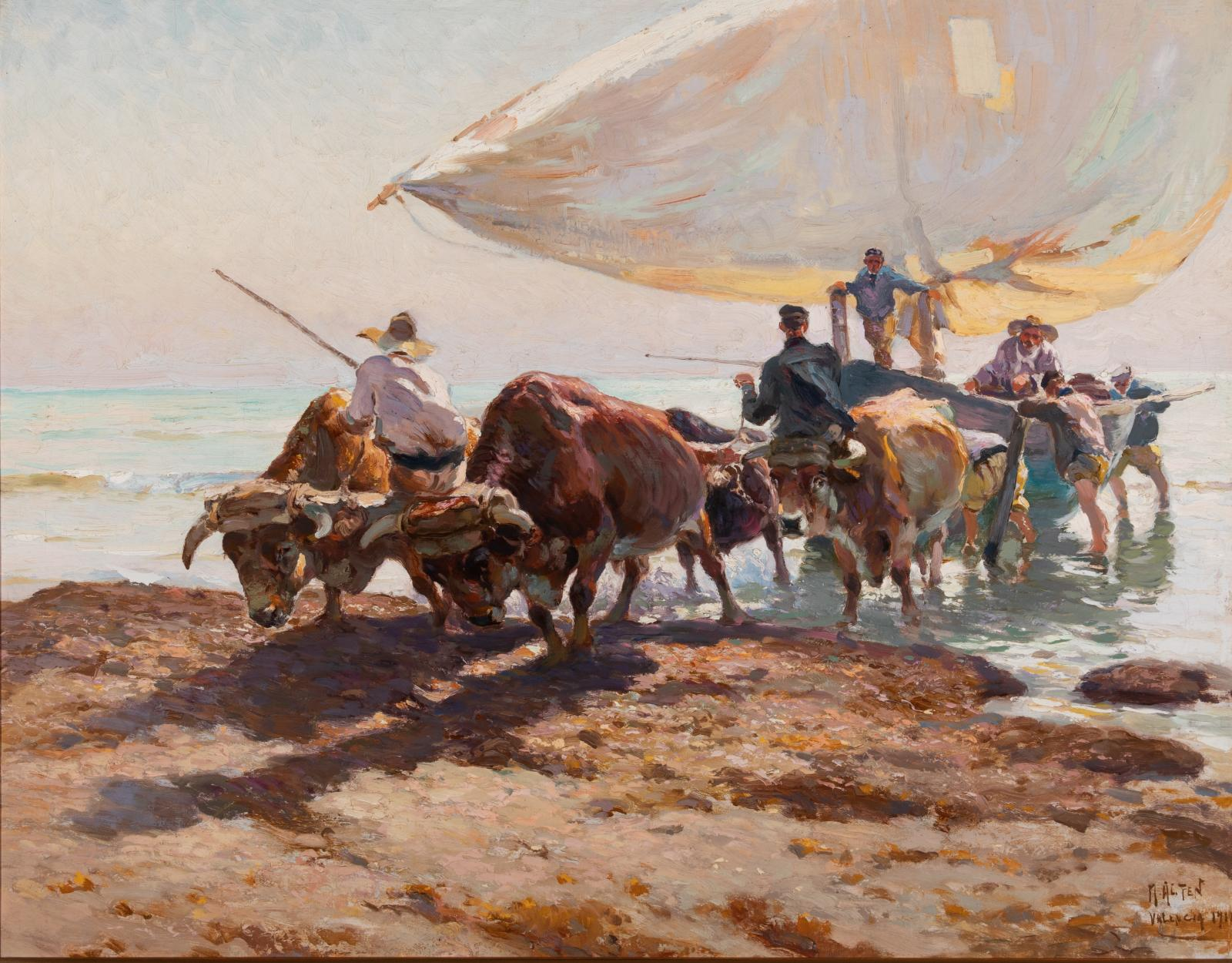 Oil on canvas painting of oxen assisting fisherman by pulling a boat with a large white sail.
