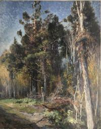 Oil on canvas painting of an area with tall trees and grass.