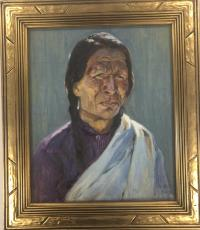 Oil on canvas on board framed painting of a portrait of a man with long braided hair, a purple/red shirt with a white cloth over one shoulder.