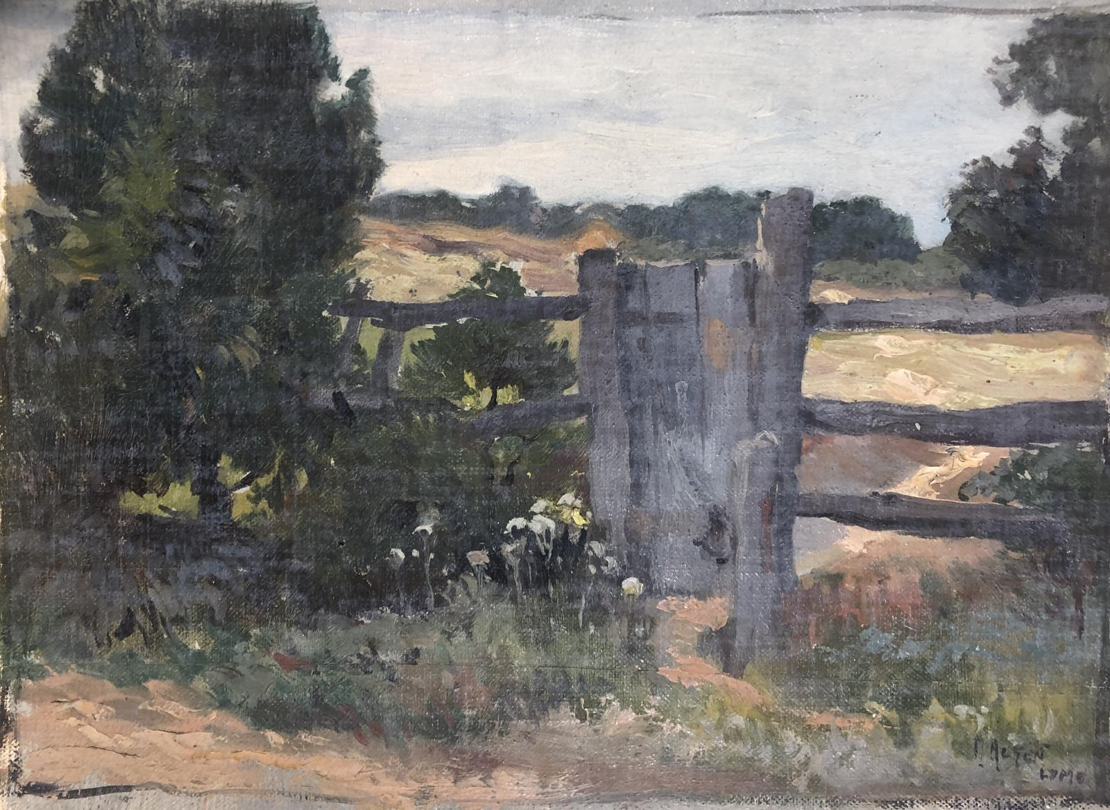Oil on canvas painting of a wooden split rail fence with gate.