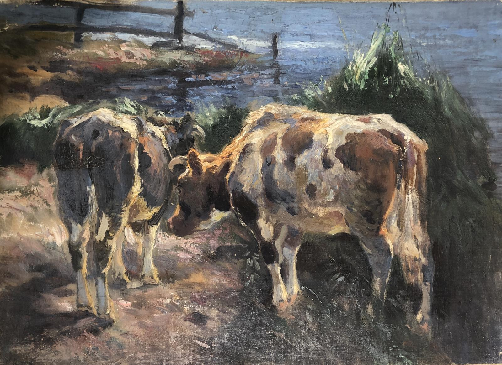 Oil painting on canvas and board of two cows, one from the rear, one from the side.