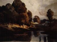 Dark pond surrounded by trees with browning leaves and a pale sky.