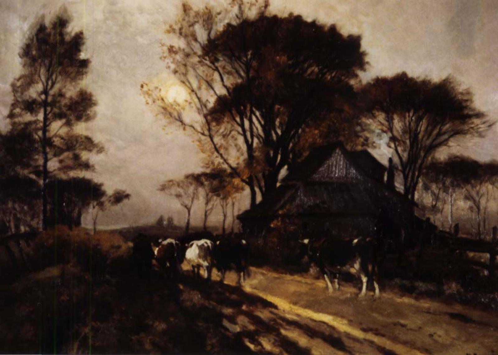 Four cows walking on a path away from the viewer.