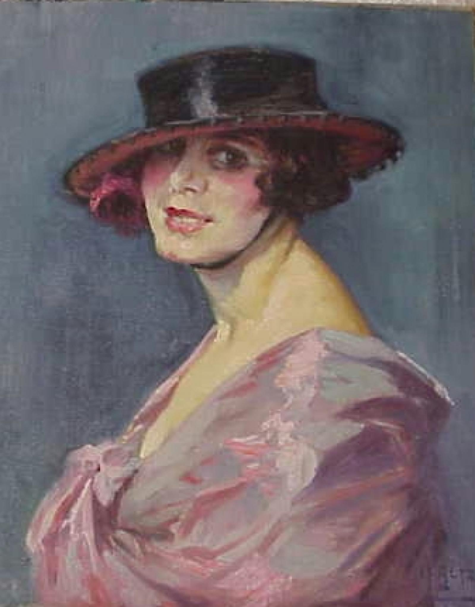 Portrait of woman with Spanish style hat with rose under it and wearing a pink wrap on blue background.