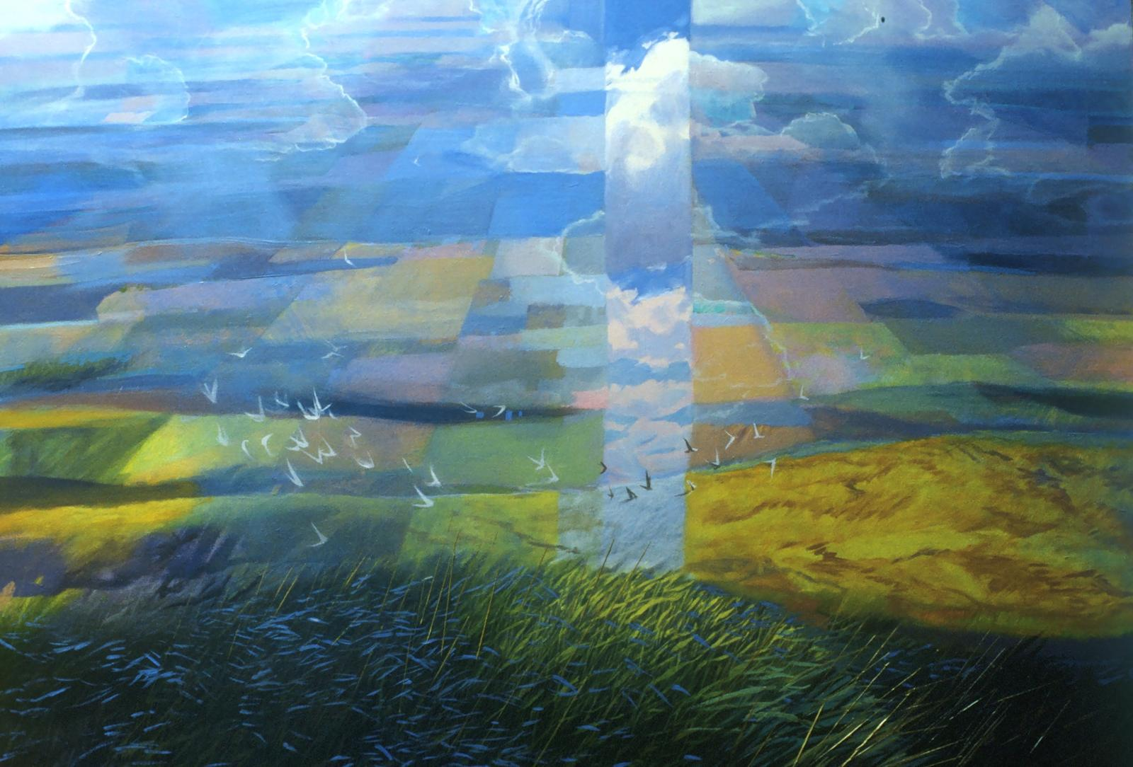 """Oil on canvas painting of a pastoral scene with """"rays of sunshine"""" that distort the colors."""