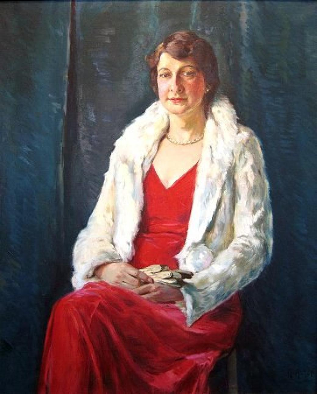 A portrait of a woman in a red dress, a white blazer.
