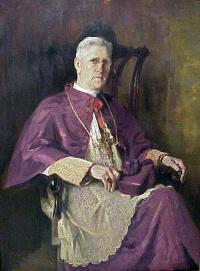A painting of Bishop Kelly wearing a white and purple cassock and alb.
