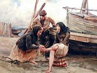 Watercolor image of three figures on a waterfront.